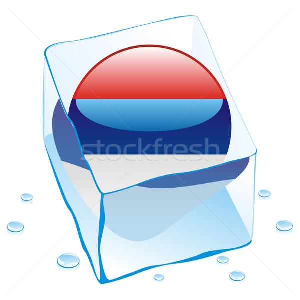 Сток-фото: Сербия · кнопки · флаг · заморожены · Ice · Cube