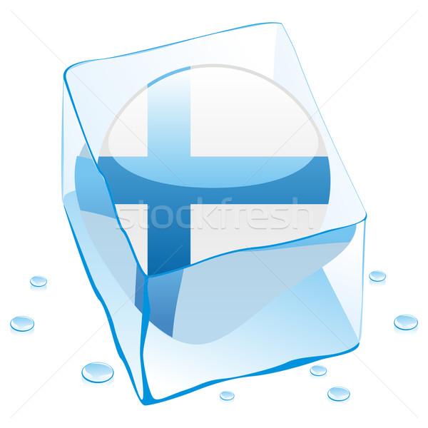 Финляндия кнопки флаг заморожены Ice Cube Сток-фото © PilgrimArtworks