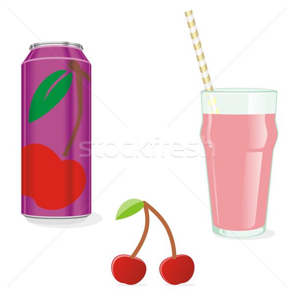 isolated cherry juice and fruit Stock photo © PilgrimArtworks
