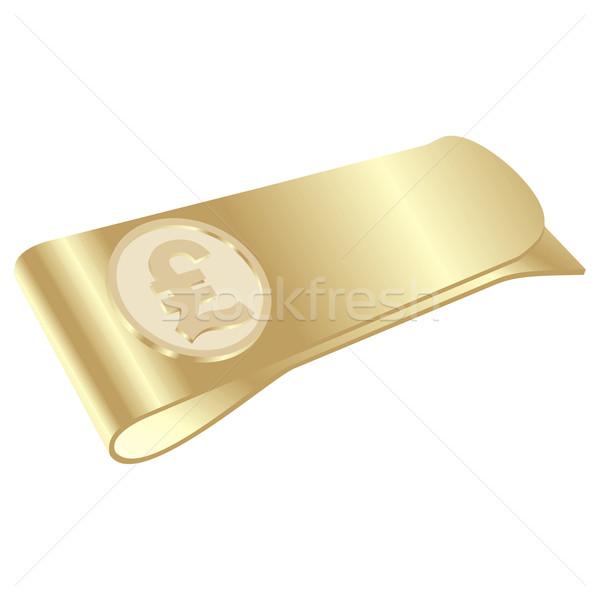 isolated golden money clip with pound symbol Stock photo © PilgrimArtworks