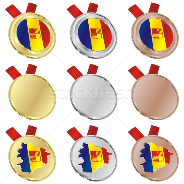 Andorra Vektor Flagge Medaille Formen editierbar Stock foto © PilgrimArtworks