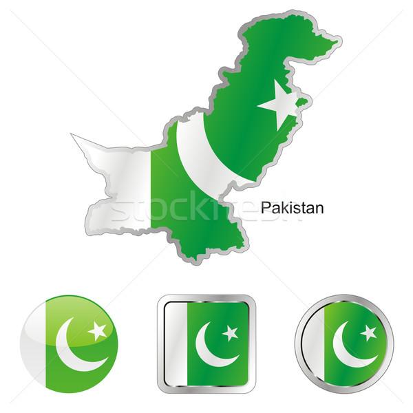 Пакистан карта Интернет Кнопки форма флаг Сток-фото © PilgrimArtworks