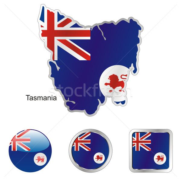 Tasmanië kaart web knoppen Stockfoto © PilgrimArtworks