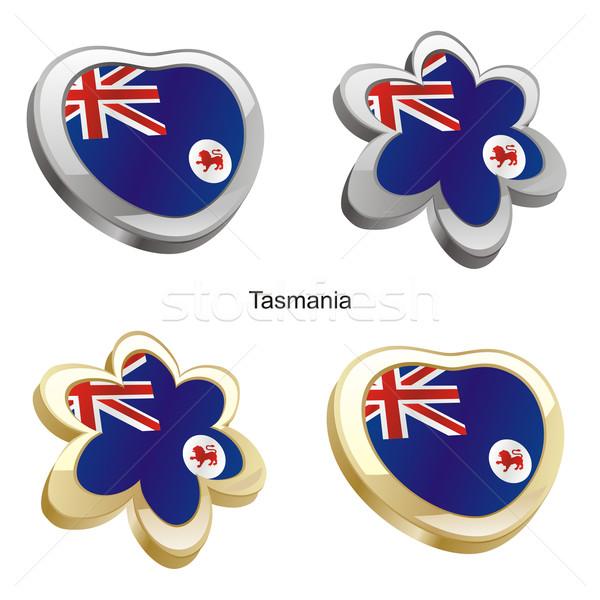 Tasmanië vlag hart bloem vorm Stockfoto © PilgrimArtworks