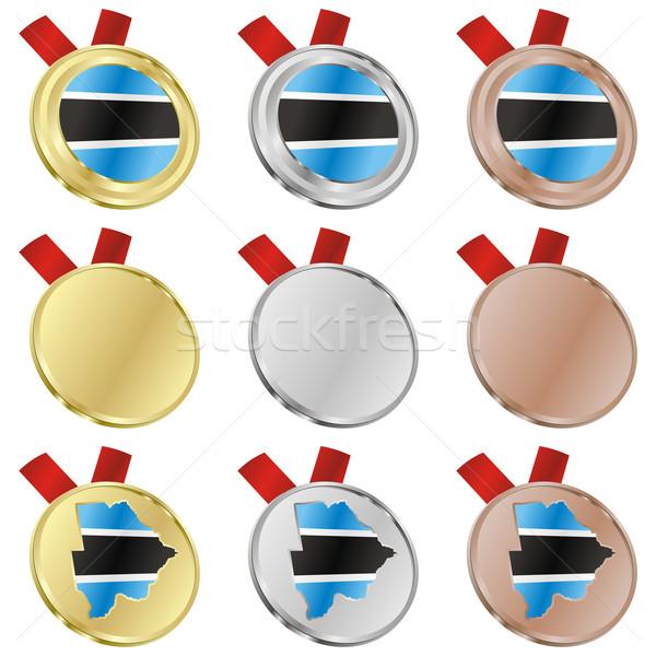 Botswana vetor bandeira medalha formas Foto stock © PilgrimArtworks