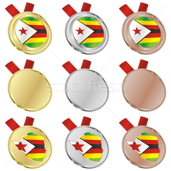 zimbabwe vector flag in medal shapes Stock photo © PilgrimArtworks