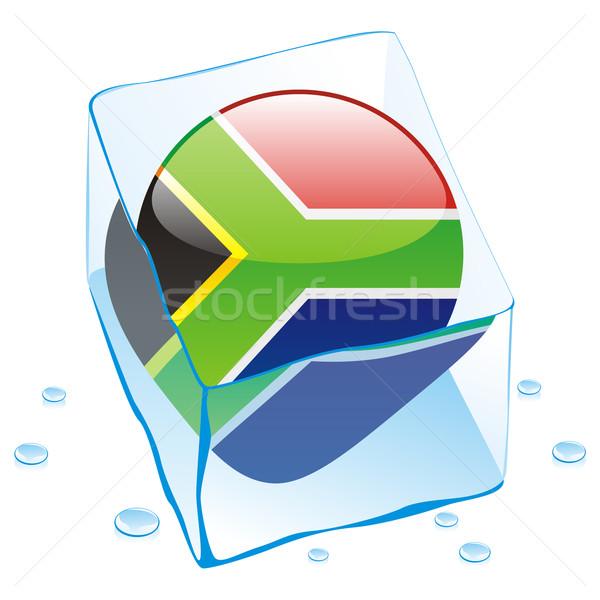 Dél-Afrika gomb zászló fagyott jégkocka szerkeszthető Stock fotó © PilgrimArtworks