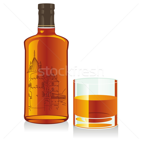 isolated whiskey bottle and glass Stock photo © PilgrimArtworks