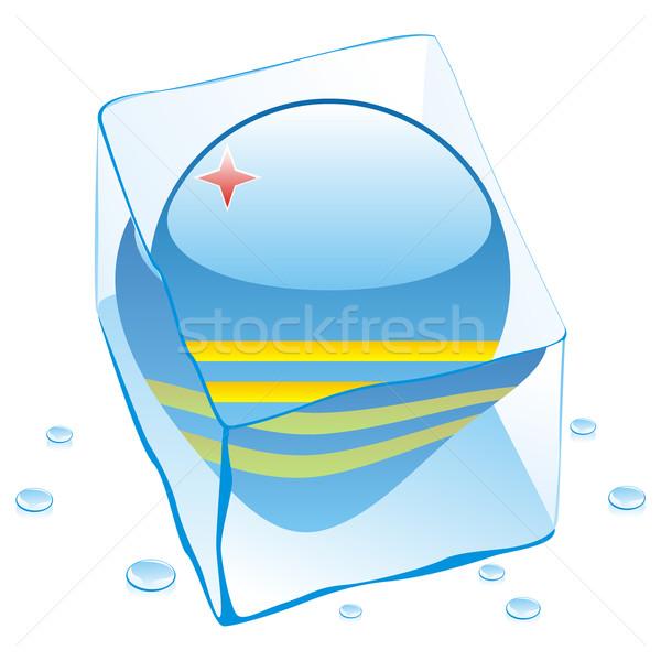 Botón bandera congelado cubo de hielo agua Foto stock © PilgrimArtworks