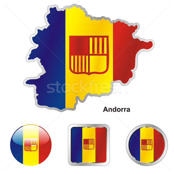 Flagge Andorra Karte Web Tasten Formen Stock foto © PilgrimArtworks