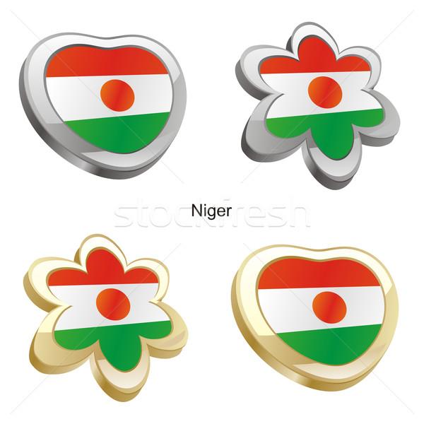 Нигер флаг сердце цветок форма Сток-фото © PilgrimArtworks