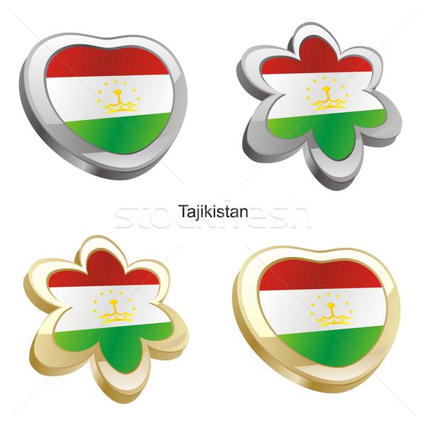 Tadjikistan pavillon coeur fleur forme Photo stock © PilgrimArtworks