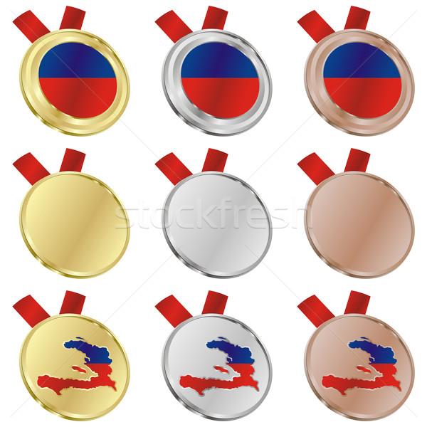 Haití vector bandera medalla formas Foto stock © PilgrimArtworks