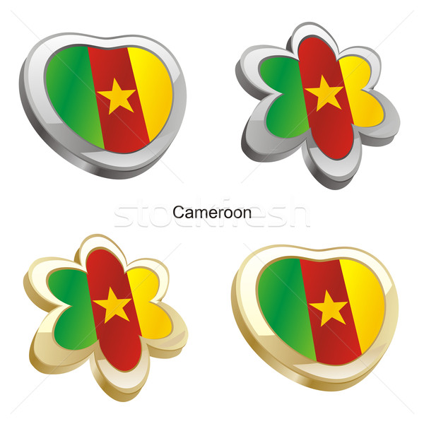 Сток-фото: Камерун · флаг · сердце · цветок · форма