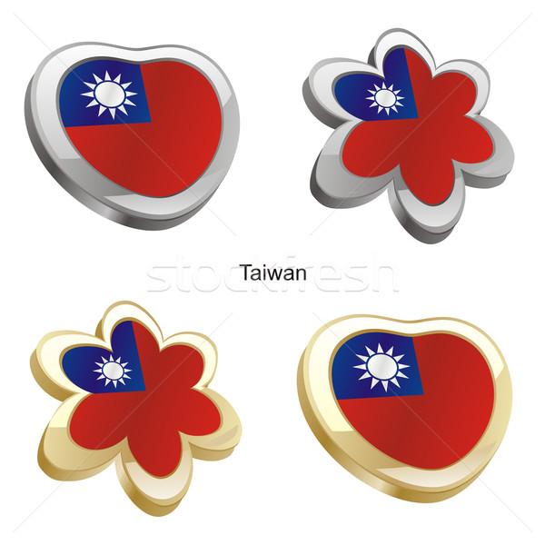 Tayvan bayrak kalp çiçek biçim düzenlenebilir Stok fotoğraf © PilgrimArtworks