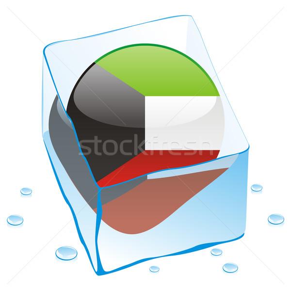 Kuweit botão bandeira congelada ice cube Foto stock © PilgrimArtworks