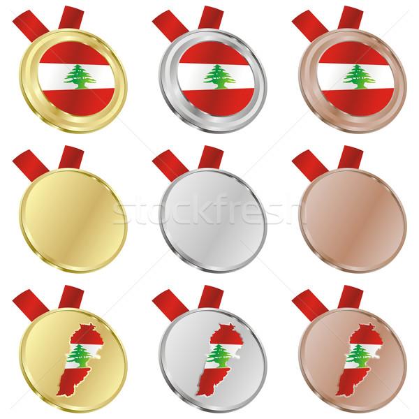Libanon vektor zászló érem formák szerkeszthető Stock fotó © PilgrimArtworks
