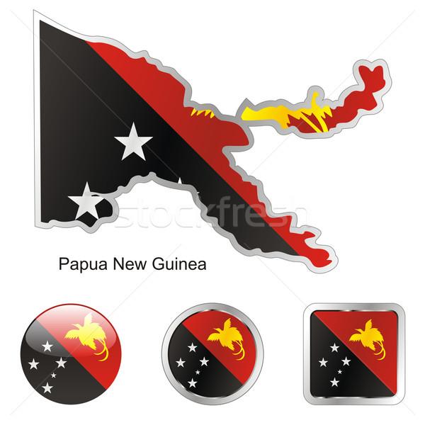 Papouasie-Nouvelle-Guinée carte web boutons Photo stock © PilgrimArtworks