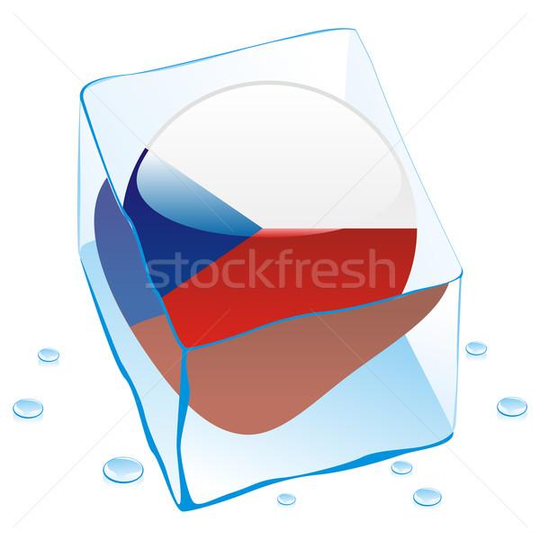 Tcheco botão bandeira congelada ice cube Foto stock © PilgrimArtworks