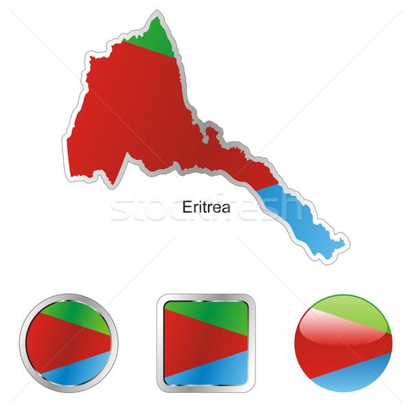 Эритрея карта Интернет Кнопки форма флаг Сток-фото © PilgrimArtworks