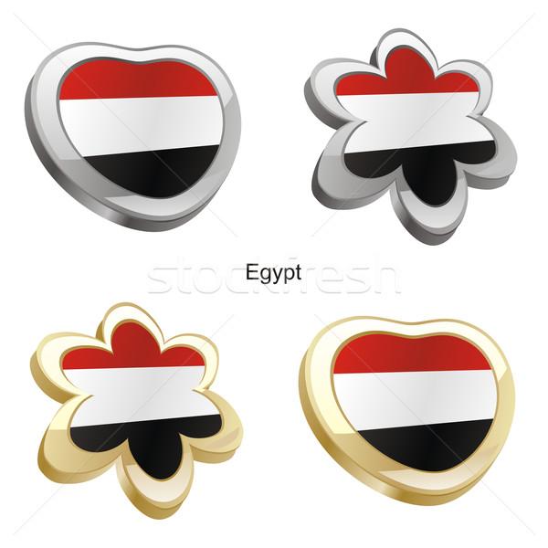 Egypte vlag hart bloem vorm Stockfoto © PilgrimArtworks