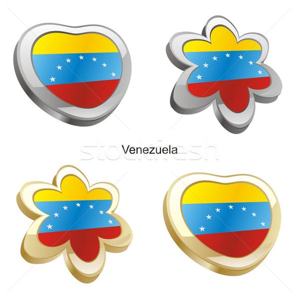 Venezuela zászló szív virág forma szerkeszthető Stock fotó © PilgrimArtworks