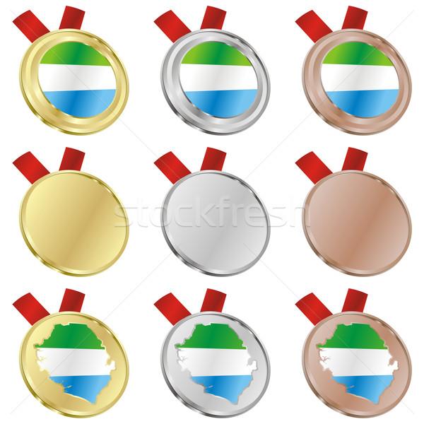 sierra leone vector flag in medal shapes Stock photo © PilgrimArtworks