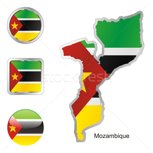 Moçambique mapa teia botões formas Foto stock © PilgrimArtworks