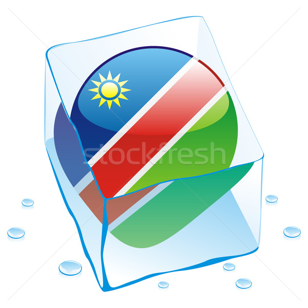 Namibia przycisk banderą zamrożone kostkę lodu Zdjęcia stock © PilgrimArtworks