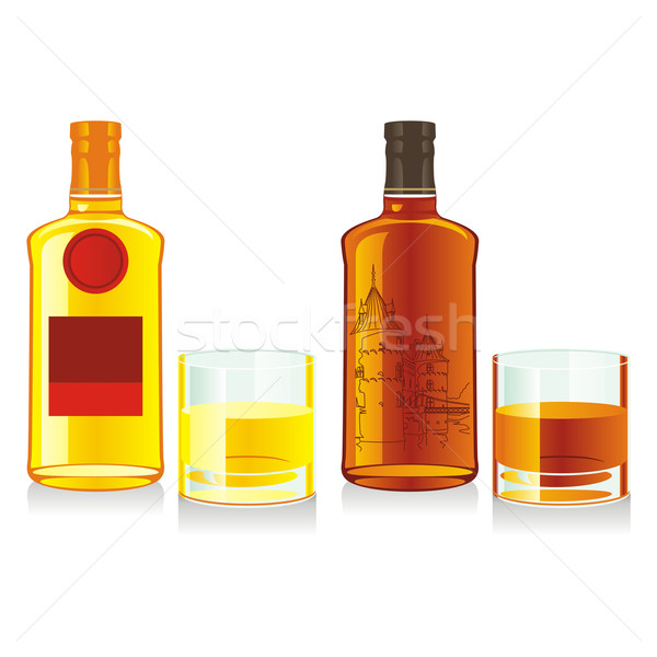 Stok fotoğraf: Yalıtılmış · viski · şişeler · gözlük · düzenlenebilir · bira