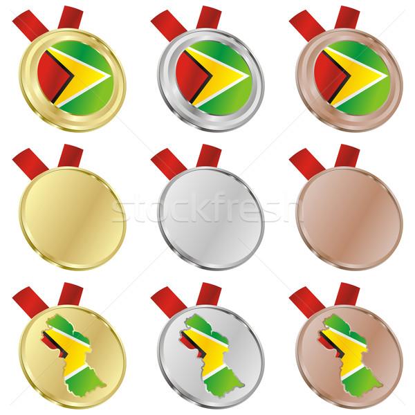 ガイアナ ベクトル フラグ 金メダル ストックフォト © PilgrimArtworks