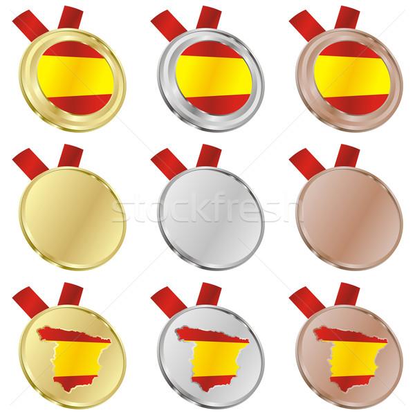 Espanha vetor bandeira medalha formas Foto stock © PilgrimArtworks