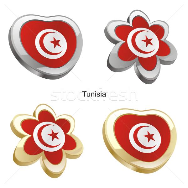 Tunus bayrak kalp çiçek biçim düzenlenebilir Stok fotoğraf © PilgrimArtworks