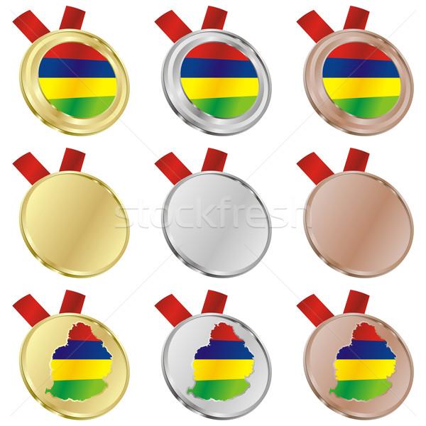 Mauricio vector bandera medalla formas Foto stock © PilgrimArtworks