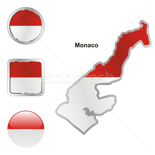 Monaco carte web boutons Photo stock © PilgrimArtworks