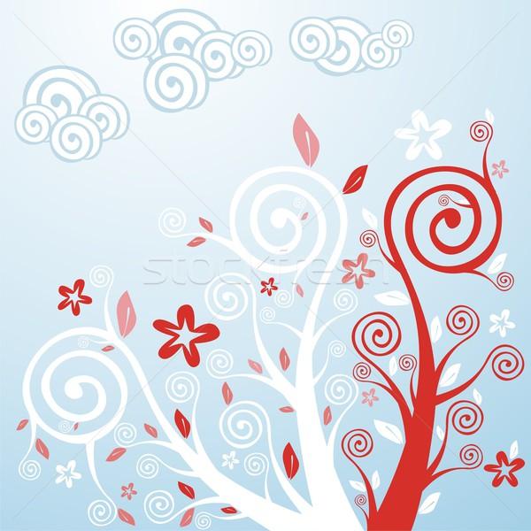 Stilizált tavaszi virágok fák szerkeszthető kész virág Stock fotó © PilgrimArtworks
