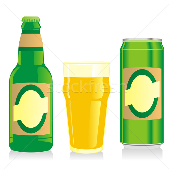 isolated blonde beer bottle, glass and can with label Stock photo © PilgrimArtworks