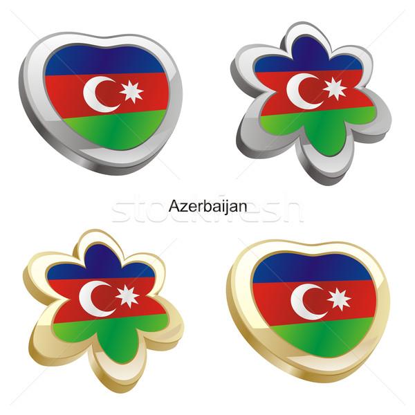 Azerbeidzjan vlag hart bloem vorm Stockfoto © PilgrimArtworks
