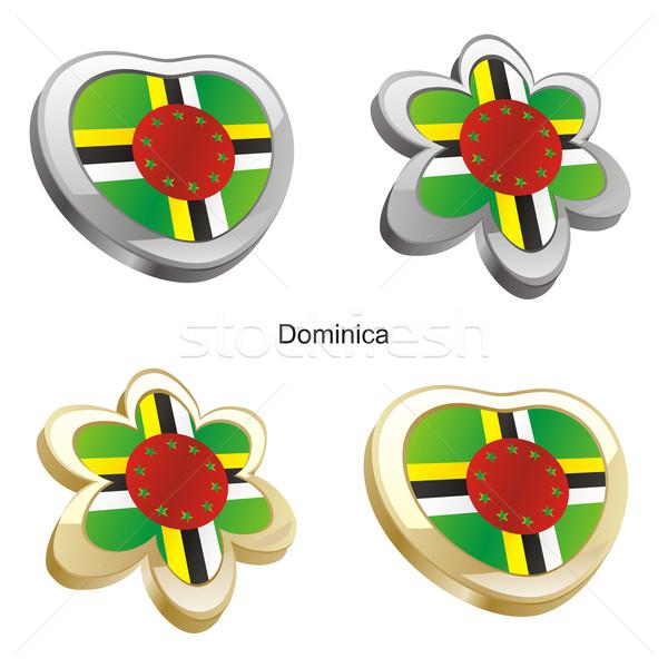 Доминика флаг сердце цветок форма Сток-фото © PilgrimArtworks