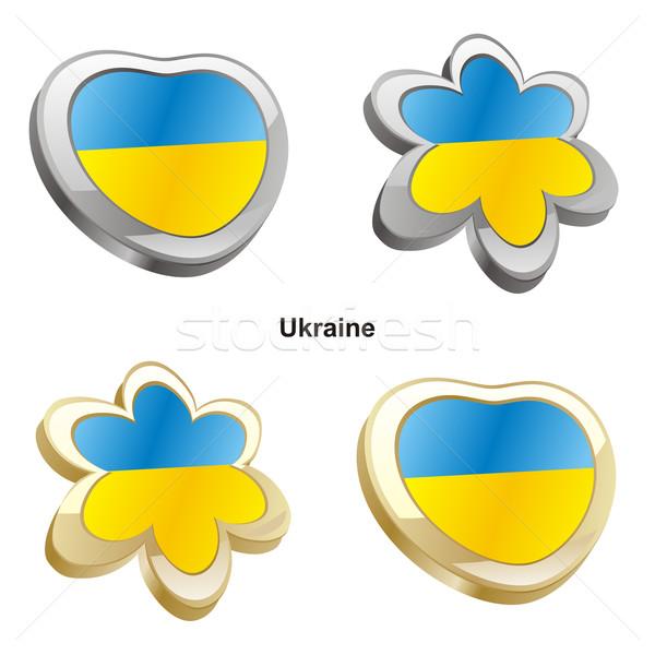 Ucrânia bandeira coração flor forma Foto stock © PilgrimArtworks