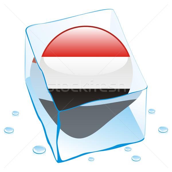 yemen button flag frozen in ice cube Stock photo © PilgrimArtworks