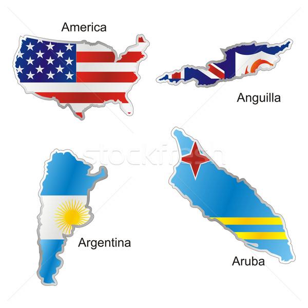 Americano banderas mapa forma aislado bandera Foto stock © PilgrimArtworks