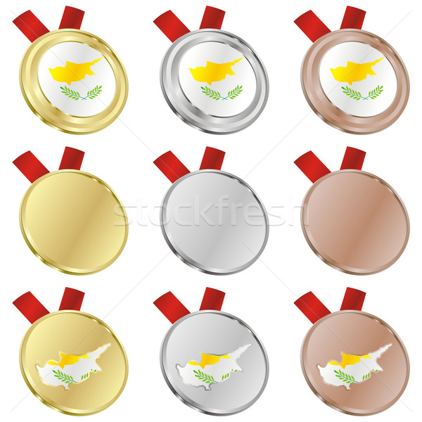 Chipre vetor bandeira medalha formas Foto stock © PilgrimArtworks