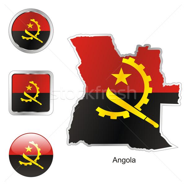 Ангола карта Интернет Кнопки форма флаг Сток-фото © PilgrimArtworks