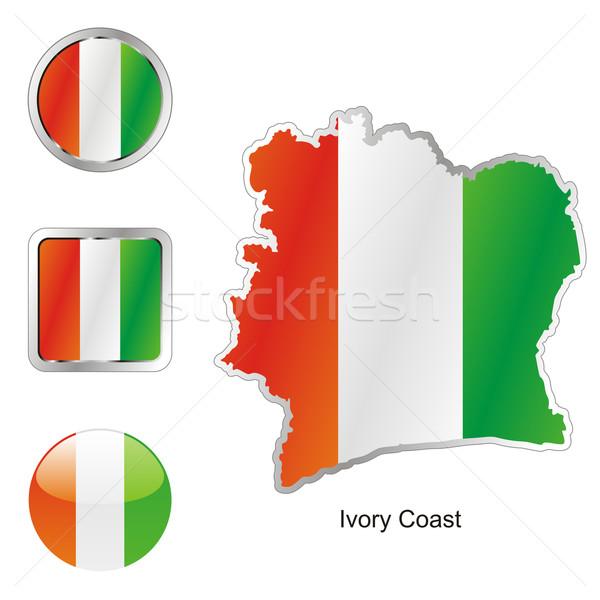 Ivoorkust kaart web knoppen Stockfoto © PilgrimArtworks