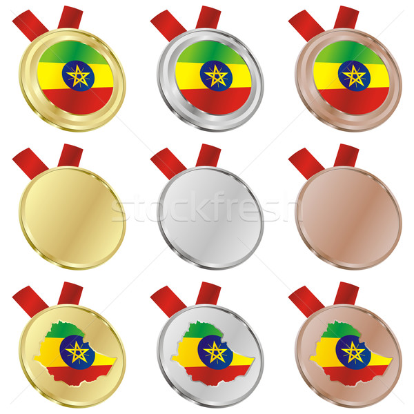 ethiopia vector flag in medal shapes Stock photo © PilgrimArtworks