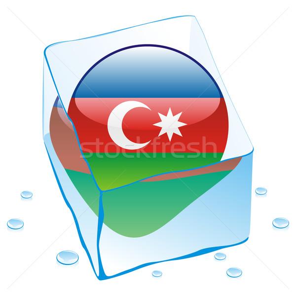 Azerbaiyán botón bandera congelado cubo de hielo Foto stock © PilgrimArtworks