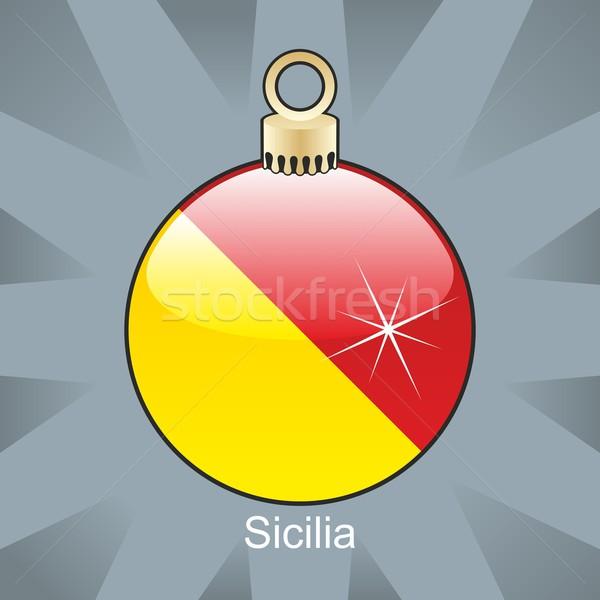 Geïsoleerd sicilië vlag christmas lamp vorm Stockfoto © PilgrimArtworks