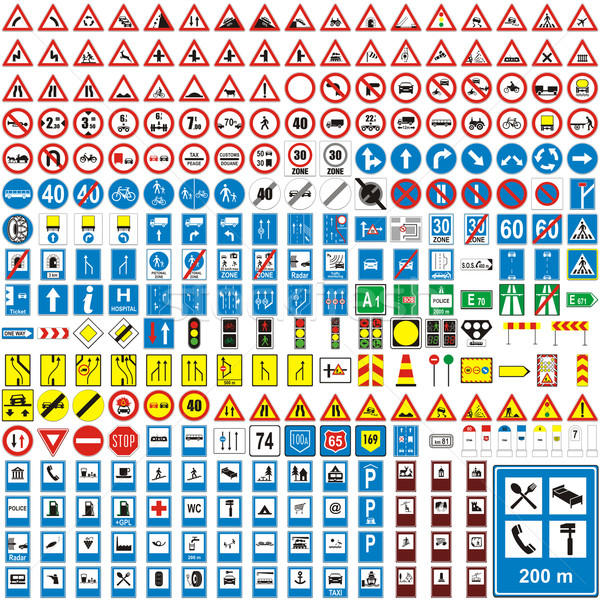 vector european traffic signs with details ready to use Stock photo © PilgrimArtworks