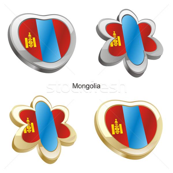 Mongólia zászló szív virág forma szerkeszthető Stock fotó © PilgrimArtworks